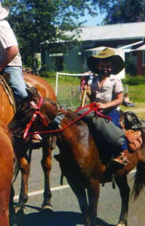 Zane on his first pony Comet when he wanted to be a drover. He still has the same saddle bag.